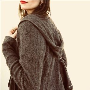 CYNTHIA ROWLEY Brown 100% Cashmere Hooded Cardigan